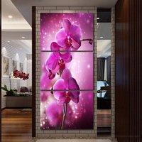 ingrosso illustrazione di tela di canapa del fiore viola-3 Pz Purple Orchid Flower Picture Poster And Prints Home Decor Wall Art Immagine Canvas Painting Cuadros Decocation No Frame