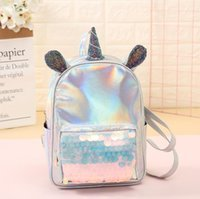 Wholesale girl horse backpacks resale online - Unicorn Sequins Backpacks Women Laser Leather Mini Travel Bags Girls Cartoon Horse Ear Outdoor SchoolBags Storage Bags OOA6350