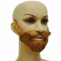 Wholesale fake costume beard resale online - Hot Fancy Dress Costume Party Halloween Costumes Fake Mustache Funny Beards Whisker festival Supplies XJS789
