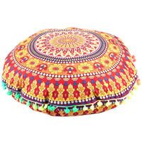 Wholesale bohemian floor cushions resale online - TOP Mandala Floor Pillows Round Bohemian Cushion Cushions Pillows Cover Case