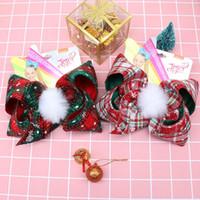 kürklü şapkalı toptan satış-Noel JoJo Yaylar Tokalarım Kızlar Ekose Saç Yaylar Ponpon Kürk Topu Saç Klipler Çocuklar Noel Partisi Saç Aksesuar TTA2010-6