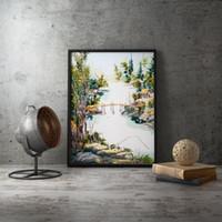 chinesische wanddekor kunst leinwand großhandel-Youman Tapete Poster chinesischen Stil Hand Stickerei-Kunst-Leinwand Poster Wände Leinwand Lanscape Decoratieve Bild Home Decor