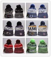 basketbol takımları beanies toptan satış-İyi Tasarım kış Beanie Örgü Şapka Spor Takımları beyzbol futbol basketbol Beanies Kadınlar Erkekler kış sıcak şapka kapakları
