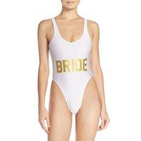 bikini or orange achat en gros de-Blanc mariée lettre d'or Bikini Sexy One Piece maillot de bain maillot de bain dos nu costume d'été femmes Body Barboteuses Womens Jumpsuit