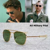 unión de oro al por mayor-AO lente de cristal Marca Army MILITARY Gafas de sol ópticas americanas James Bond Men 12K chapado en oro aviación Caravan Crystal G15 Gafas de sol