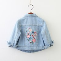 Wholesale denim jackets for kids for sale - Group buy 2019 Girls Denim Jackets Flower Butterfly Embroidery Jean Coat For Baby Girl Spring Kids Outerwear Girls Clothing