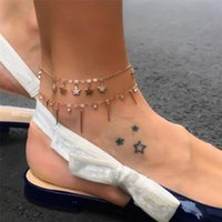 Wholesale sandals pendant for sale - Group buy Double Star Pendant Beach Anklet Female Alloy Star Anklet New Ankle Sandals Barefoot Feet Jewelry Accessories Gift Y40