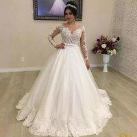 vestido de novia corbata de lazo blanco al por mayor-2020 marfil blanco de la bola / vestido de boda del jardín de vestidos nupciales cuello de la joya de la ilusión vestidos de novia de manga larga de la pajarita de la correa por encargo