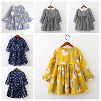 yeni bebek etek tasarımları toptan satış-2019 yeni tasarım bebek kız uzun kollu elbise ızgara çiçek tekne çilek baskılı prenses kızlar ilkbahar sonbahar etekler