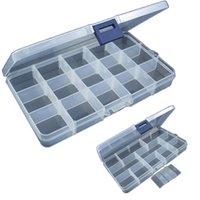almacenamiento de señuelos al por mayor-15 ranuras de plástico ajustable señuelo de pesca gancho caja de aparejos caja de almacenamiento aparejo portátil organizador multifuncional cajas de pesca