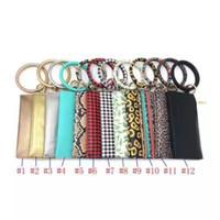 Wholesale wristband purse online – custom Leopard Leather Bracelet Key Chain Plaid Buffalo Wallet PU Wrist Round Tassel Pendant Wristbands Keychain Bracelets Clutch Purse LJJA3604