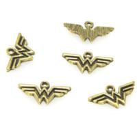 süper kahraman kadınlar toptan satış-25 adet / grup Wonder Woman Charms Antiqued altın Ton Altın Charm Süper Kahraman Charm kolye 21x12mm