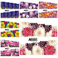 Wholesale water lily paintings for sale - Group buy 1 sheet Colorful Blossoming Flower Floral Daisy Chrysanthemum Lily Painting Water Transfer Nail Art Stickers Decals DIY A865