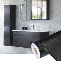 muebles de papel tapiz adhesivo al por mayor-PVC autoadhesivo impermeable papel tapiz de madera negra rollo para muebles puerta gabinetes de escritorio armario pared papel de contacto