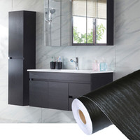 обои дерево оптовых-PVC Self Adhesive Waterproof Black Wood Wallpaper Roll For Furniture Door Desktop Cabinets Wardrobe Vinyl Wall Contact Paper