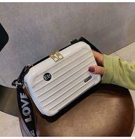 Wholesale korean luggage bags for sale - Group buy New Fashion Trend Korean Version Fashion Mini Luggage Wide Shoulder Strap Slanting Single Shoulder Box Bag Bolsa Feminina