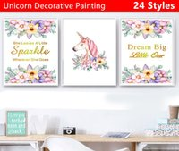 Wholesale large decorative wall posters for sale - Group buy Hot selling Various sizes Unicorn decorative painting Poster wall stickers Cartoon Cartoon Wall Decoration decor sticker styles
