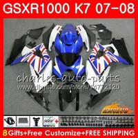 carenado k7 al por mayor-Cuerpo para SUZUKI GSXR-1000 azul de fábrica CALIENTE GSX-R1000 GSXR1000 07 08 Carrocería 12HC.36 GSX R1000 07 08 K7 GSXR 1000 2007 2008 Kit completo de carenado