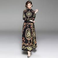 uzun kollu maxi elbise stili toptan satış-Bahar Kadın Baskı Ayakta Yaka Uzun Kollu Ayak Bileği Uzunlukta Elbise Barok Retro Saray Tarzı Zarif Maxi Elbiseler Kadın Giyim QP33599