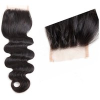 tissu en spirale en spirale péruvienne achat en gros de-Lala Hair l !!! 4x4 fermeture corps vague péruvienne de cheveux humains Weave vente chaude trois lignes de fermeture