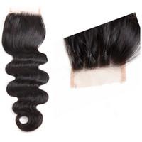 satılık örgü örtüleri toptan satış-Lala Saç l !!! 4x4 kapatma vücut dalga Perulu İnsan Saç Dokuma sıcak satış üç satır kapatma
