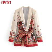 corée femmes costumes achat en gros de-Tangada Femmes Costume Blazer Floral Designer Veste Korea Fashion 2018 Manches Longues Dames Blazer Femme Bureau Manteau Blaser 3h48 J190706