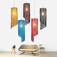 führte küchenarmaturen großhandel-Moderne kreative farbe e27 led pendelleuchte persönlichkeit aluminium hängen lampe pendelleuchte hauptbeleuchtung küche leuchten