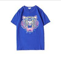 kaplan baskısı tişörtleri toptan satış-Erkekler T Shirt Kaplan Kafası Marka Mektupları ile Baskılı Tişörtleri Mens Gömlek Kısa Kollu Tee Ekip Boyun Yaz Giysileri Tops