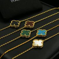 ingrosso braccialetti di onice neri per le donne-Bracciale con fiore singolo in oro 18 carati 316L acciaio al titanio Bracciale con trifoglio bianco Bracciale con perle naturali in onice nero