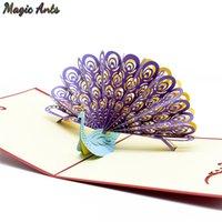 cartes kirigami en pop-up 3d achat en gros de-Paon 3D Pop UP cartes anniversaire avec enveloppe autocollant invitation découpée au laser cartes de vœux des animaux cartes postales cadeau boîte kirigami