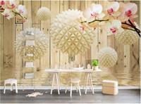 decoração da parede da orquídea venda por atacado-3d papel de parede personalizado foto mural 3d dimensional bola redonda madeira orquídea padrão de água moderna TV fundo wall home decor wall art pictures
