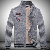 erkek beyler ceketi toptan satış-Erkek Kazak Ceketler Yün Kaşmir Tasarımcı Coats Kalın Kış Sıcak SHARK Baskılı Beyefendi Mont