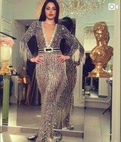 zuhair murad diz boyu elbiseler toptan satış-Abiye Yousef aijasmi Kim kardashian 2019 Mermaid Püskül V Yaka Boncuk Uzun kollu Diz boyu Kırmızı Yüksek boyun Zuhair murad 101
