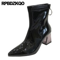 Wholesale silver thick boot heel for sale - Group buy shoes patent leather black pointed toe thick waterproof metallic cheap winter women ankle boots medium heel block chunky silver