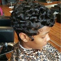 Wholesale real indian hair wigs women resale online - 100 Human Hair Wig Short Curly Black Pixie Cut Hair Wigs For Women Machine Made Real Hair Wig