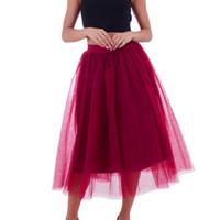 tulle röcke verkauf größen großhandel-2019 sommer neue heiße verkauf weibliche modelle Polyester Frauen Plus Größe Mesh Tüll Rock Plissee Prinzessin Rock Mesh Blase