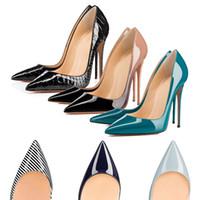 zapatos de vestir altos al por mayor-Diseñador de lujo zapatos de las mujeres fondos rojos bombas tacones altos negro desnudo del dedo del pie puntiagudo vestido de fondo rojo zapatos de boda 8/10/12 CM 35-42