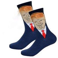 meias longas homens venda por atacado-Bonito Trump Impressão Meias Engraçadas com Cabelo Falso Donald Trump 3D Criativo Tripulação Meias Para Mulheres Dos Homens Meio Longo Meias Presentes A6407