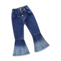 jeans pantalones largos chicas al por mayor-Primavera otoño pantalones vaqueros de las niñas pantalones de campana de primavera niños pantalones trajes trajes para niñas cortan pantalones de mezclilla pantalones largos niños ropa