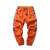 pantalones cargo naranja negro al por mayor-Derivación de la cinta original Hombres Pantalones cargo Naranja Negro Hipster