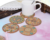 Wholesale natural fiber insulation for sale - Group buy Natural Cork Moisture Resistant Round Cup Coasters Drink Coasters Heat Insulation Patterned Pot Holder Mats for Table