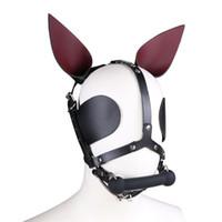 bdsm gags hoods toptan satış-Fetiş Hakiki Deri SM Hood Köpek Maskesi Başkanı Demeti Seks Köle Yaka Tasma Ağız Gag BDSM Kölelik Körü Körüne Seks Oyuncakları Çift Için