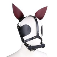 bdsm slaves dog venda por atacado-Fetiche Couro Genuíno SM Hood Dog Máscara Cabeça Harness Sex Slave Collar Trela Mordaça Boca BDSM Bondage Blindfold Sex Toys Para Casal