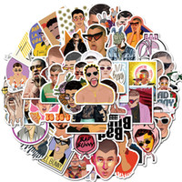 50 PCS Car Stickers Singer Bad Bunny For Skateboard Laptop Fridge Helmet Stickers Pad Bicycle Bike Motorcycle PS4 Notebook Guitar Pvc Decal