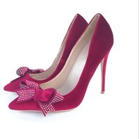 Wholesale diamond club sexy resale online - New European and American Red Fleece cm Sexy Night Club High heeled Shoes Butterfly knotted Water Diamond Evening Fine heeled Single Shoes