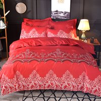 Wholesale queen size lace bedspread resale online - wedding comforter bedding sets luxury red lace duvet cover set winter bed cover queen king size Bed linen bedspread quilt