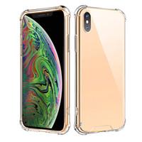 iphone cristal duro para trás venda por atacado-Anti-knock robusto case para novo iphone 11 x xr xs max 7 8 plus cristal acrílico rígido de volta macio claro tpu bumper para samsung s10 plus note10