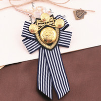 Wholesale navy brooches resale online - Women Navy Stripe Brooch cm Bowknot Suit Collar Lapel Pin Badge Shirt Accessories Necktie Brooch Style
