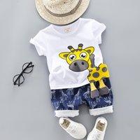 ingrosso t-shirt cartoon animale per bambini-Estate Bambini Vestiti per bambini Set per Ragazzi Taglio Cartone animato Animale Abbigliamento per bambini Giraffa Top T-shirt Toddler Outfit 1 2 3 4 Anni