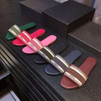 Wholesale chocolate novelties for sale - Group buy luxury Designer Leather Blue red stripes Sandals Denim Ladies Summer Flat Slipper outdoor beach woman Flip Flops Rainbow letters slippers